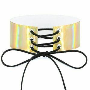 Metallic lace up choker necklace
